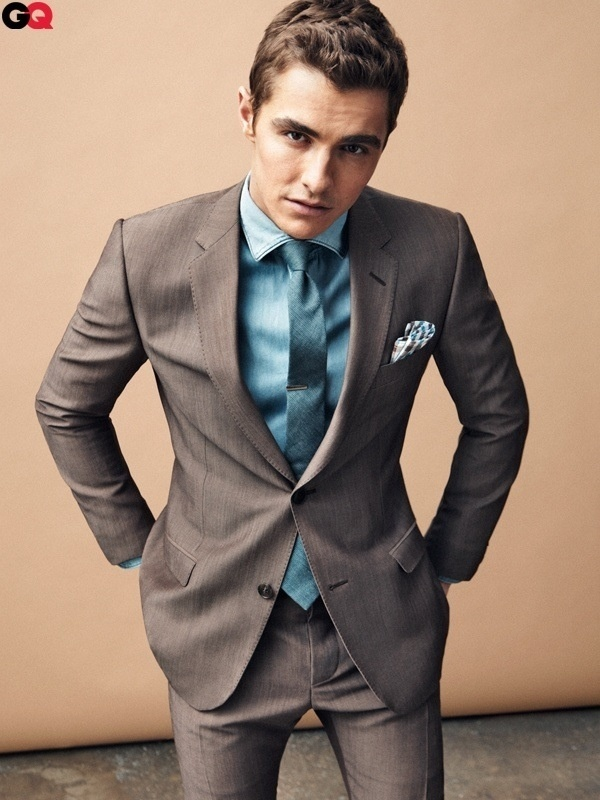 Dave Franco wearing Dark Brown Suit, Teal Dress Shirt, Teal Silk