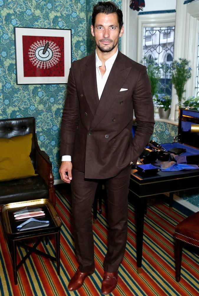 David Gandy wearing Dark Brown Suit, White Long Sleeve Shirt ...