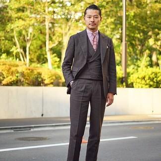How to wear: dark brown check three piece suit, white and red vertical striped dress shirt, purple print tie, dark purple print pocket square