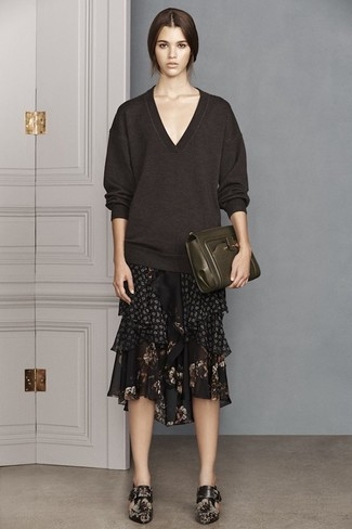 How to wear: dark brown v-neck sweater, black floral chiffon midi skirt, black floral leather ankle boots, dark green leather clutch