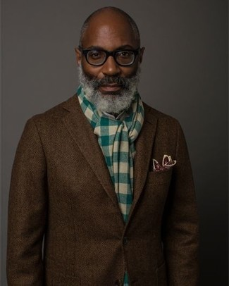 How to wear: dark brown herringbone wool blazer, burgundy print pocket square, green check scarf