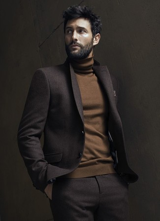 How to wear: dark brown wool suit, brown turtleneck, brown print pocket square