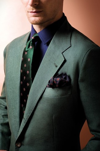 How to wear: dark green blazer, navy dress shirt, dark green floral silk tie, black print pocket square