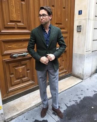 How to wear: dark green wool blazer, navy dress shirt, grey dress pants, dark brown suede oxford shoes