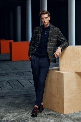 How to Wear a Navy Polo For Men: Pair a navy polo with navy dress pants and you'll be the picture of rugged sophistication. And if you need to instantly class up this look with footwear, complement this outfit with dark brown leather derby shoes.