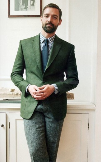Dark green blazer white and navy dress shirt dark green dress pants navy tie large 1522