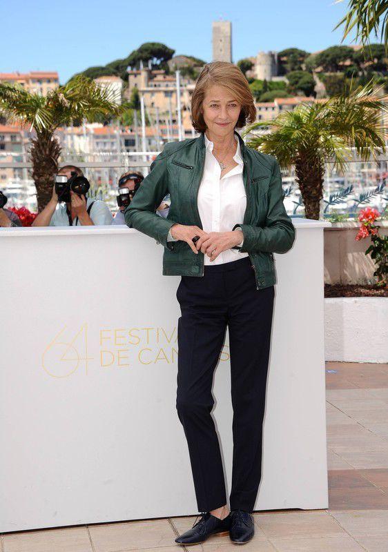 Charlotte Rampling wearing Dark Green Leather Bomber Jacket White