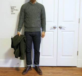 How to wear: dark green cable sweater, green plaid long sleeve shirt, navy jeans, burgundy leather derby shoes