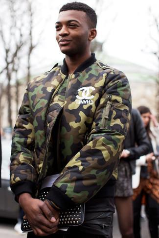 bca5d1faf2721 ... Men's Dark Green Camouflage Bomber Jacket, Black Crew-neck T-shirt,  Black