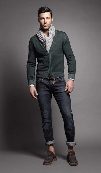How to wear: dark green cardigan, navy jeans, dark brown suede loafers, grey print scarf