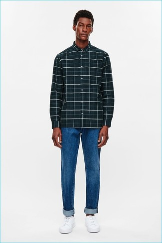 How To Wear Blue Jeans With an Olive Long Sleeve Shirt For Men: Extremely dapper, this casual combo of an olive long sleeve shirt and blue jeans brings excellent styling possibilities. White low top sneakers are a wonderful idea to round off your getup.