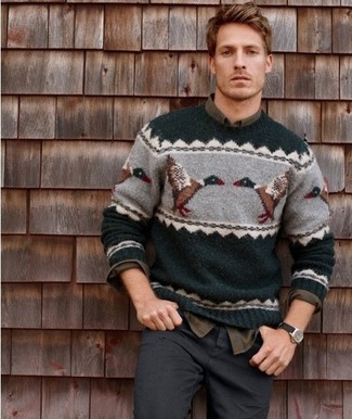 How to wear: dark green christmas crew-neck sweater, olive plaid long sleeve shirt, charcoal jeans