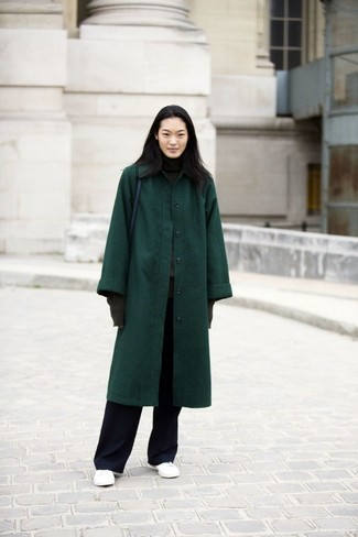 How to wear: dark green coat, charcoal turtleneck, black wide leg pants, white leather low top sneakers