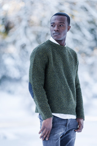 How to wear: dark green crew-neck sweater, white long sleeve shirt, blue jeans