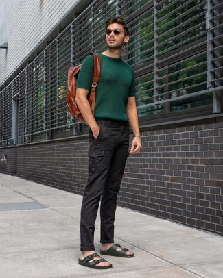 How to wear: dark green knit crew-neck t-shirt, black cargo pants, dark green leather sandals, brown leather backpack