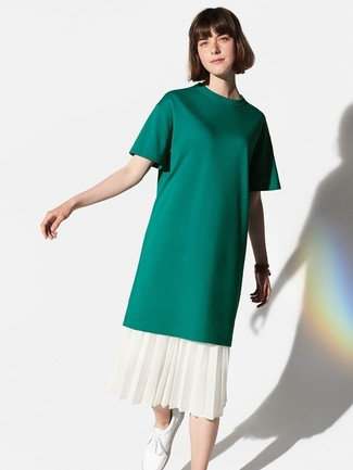 How to wear: dark green crew-neck t-shirt, white pleated midi skirt, white leather low top sneakers