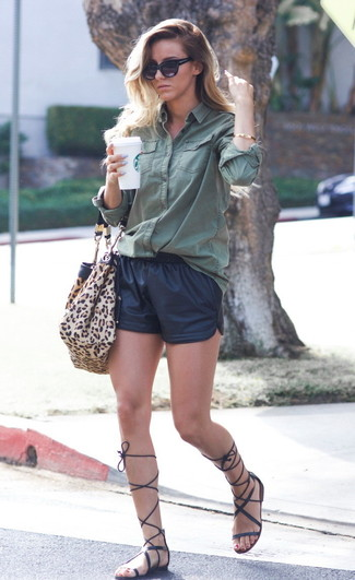 How to Wear Black Leather Shorts For Women: A dark green dress shirt and black leather shorts are a nice combination to add to your day-to-day casual repertoire. A pair of black leather knee high gladiator sandals can instantly dial down an all-too-classic ensemble.