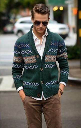How to wear: dark green fair isle shawl cardigan, white long sleeve shirt, brown chinos