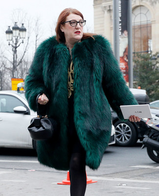 How to wear: dark green fur coat, black and gold embroidered shift dress, black leather handbag, black wool tights