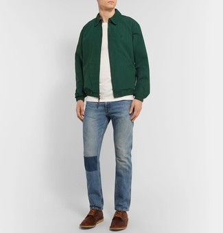 How to wear: dark green harrington jacket, white crew-neck t-shirt, blue jeans, brown leather derby shoes