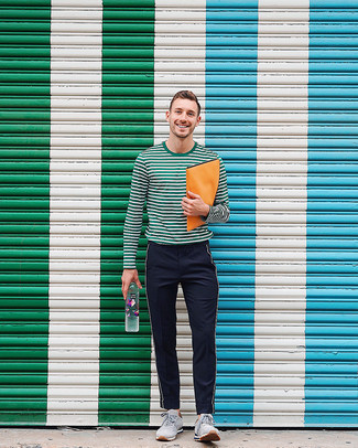 How to wear: dark green horizontal striped long sleeve t-shirt, black vertical striped twill chinos, grey suede athletic shoes