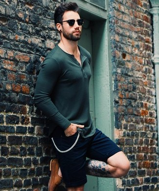 How to wear: dark green long sleeve henley shirt, navy shorts, brown leather driving shoes, black sunglasses