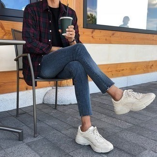 How to Wear Beige Athletic Shoes In a Relaxed Way For Men: Dress in a dark green plaid long sleeve shirt and blue jeans for a laid-back and cool and stylish outfit. Shake up this outfit with more casual shoes, such as this pair of beige athletic shoes.