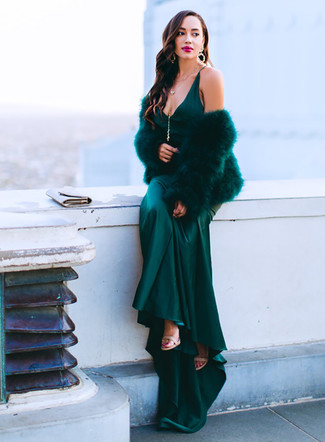 Teal Satin Maxi Dress Outfits: If the setting allows a casual ensemble, reach for a teal satin maxi dress. Why not introduce beige leather heeled sandals to the mix for an extra dose of style?