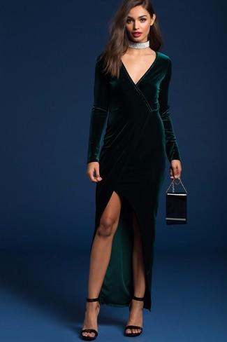 How to wear: dark green slit velvet maxi dress, black velvet heeled sandals, black leather clutch, silver choker