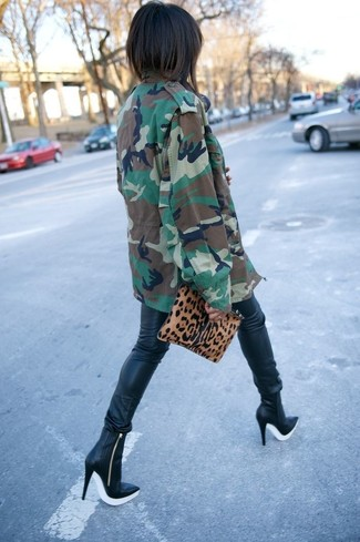 Women's Dark Green Camouflage Military Jacket, Black Leather Leggings, Black Leather Ankle Boots, Tan Leopard Suede Clutch