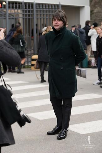 How to wear: dark green overcoat, black turtleneck, black dress pants, black leather double monks
