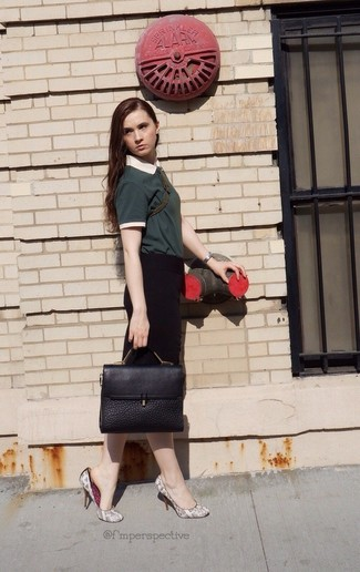 How to wear: dark green polo, black pencil skirt, grey snake leather pumps, black leather satchel bag