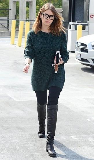 How to wear: dark green print crew-neck sweater, black skinny jeans, black leather knee high boots