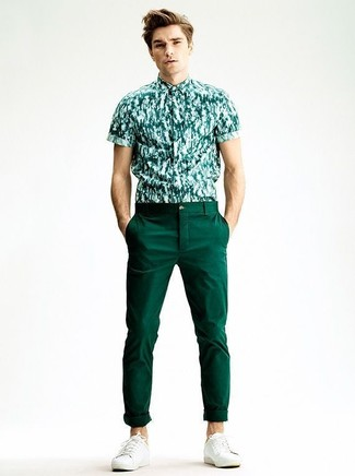 How to wear: dark green print short sleeve shirt, dark green chinos, white plimsolls