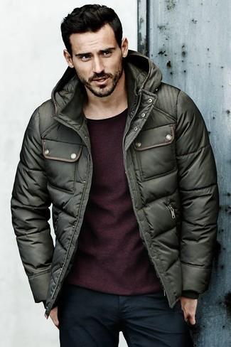 How to wear: dark green puffer jacket, burgundy crew-neck sweater, navy jeans
