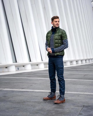 How to wear: dark green puffer jacket, navy and white horizontal striped turtleneck, navy cargo pants, brown leather casual boots