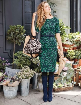 How to wear: dark green floral sheath dress, navy suede knee high boots, beige leopard leather tote bag, black tights