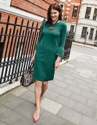 How to Wear Pink Flats: Show your styling chops in a dark green sheath dress. Send your outfit in a more relaxed direction by rounding off with pink flats.