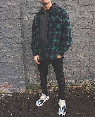 How to wear: dark green plaid shirt jacket, charcoal hoodie, black skinny jeans, grey athletic shoes