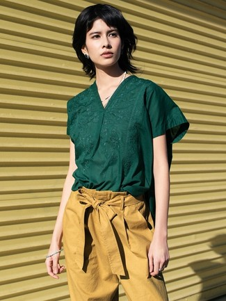 How to wear: dark green short sleeve blouse, tan tapered pants
