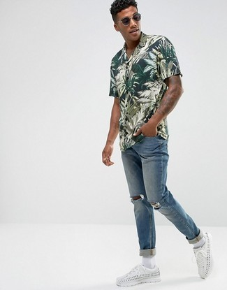 fb1a1aae8c68 Men's Fashion › Fashion for 20 year old men Men's Dark Green Print Short  Sleeve Shirt, Blue Ripped Jeans, White Leather Low Top