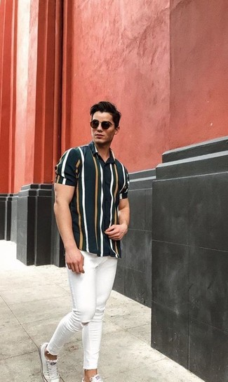 d3d7b470d3 How to wear: dark green vertical striped short sleeve shirt, white ripped  skinny jeans