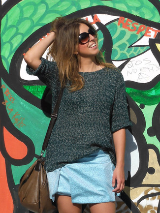 How to wear: dark green short sleeve sweater, light blue mini skirt, brown leather crossbody bag
