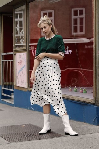 How to Wear White Leather Cowboy Boots For Women: A dark green short sleeve sweater and a white and black polka dot midi skirt teamed together are such a dreamy combination for fashionistas who prefer relaxed outfits. To give this look a more laid-back spin, why not introduce white leather cowboy boots to your ensemble?