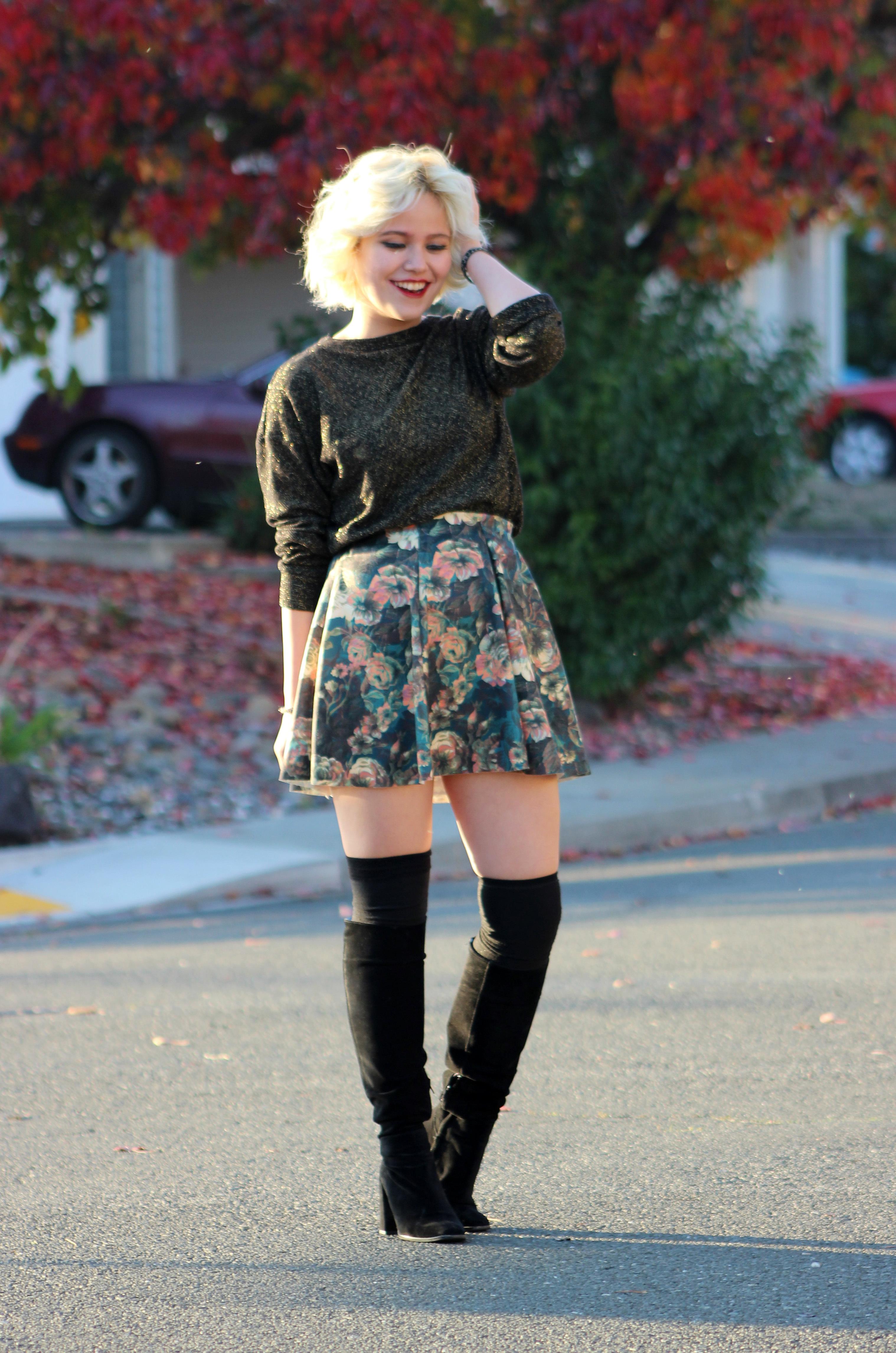 dark-green-skater-skirt-dark-green-crew-neck-sweater-black-knee-high ...