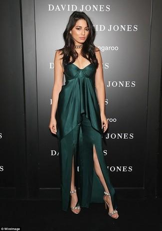 How to wear: dark green slit maxi dress, beige embellished suede heeled sandals, gold choker