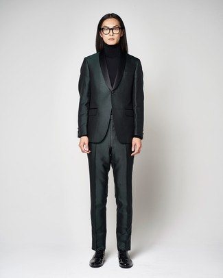 How to wear: dark green suit, black turtleneck, black leather loafers