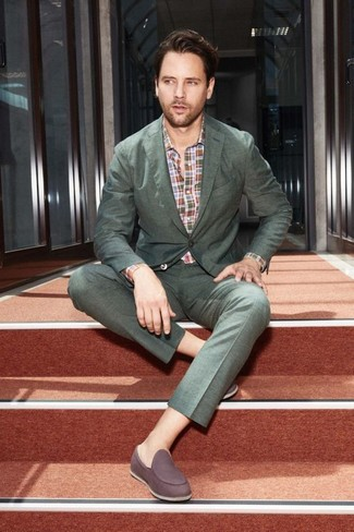 How to wear: dark green suit, multi colored plaid long sleeve shirt, dark brown suede loafers