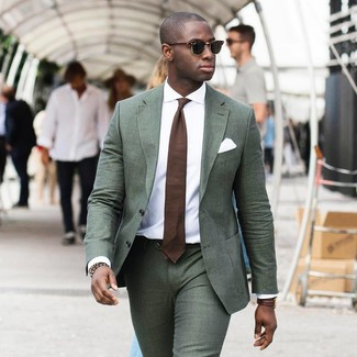 How to wear: dark green suit, white dress shirt, brown tie, white pocket square