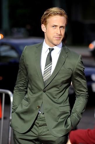 How to wear: dark green suit, white dress shirt, green horizontal striped tie